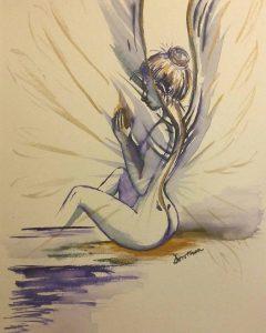 """Naga kobieta ze skrzydłami - proces tworzenia obrazu """"Serce"""""""