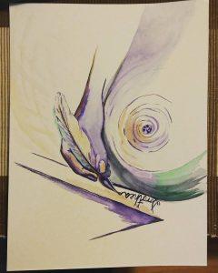 """Dłoń z piórem - proces tworzenia obrazu """"Serce"""""""