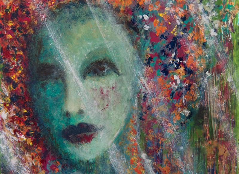 Babie lato, tempera na desce 19,5 x 27 cm; Dorota Szpil, 2018