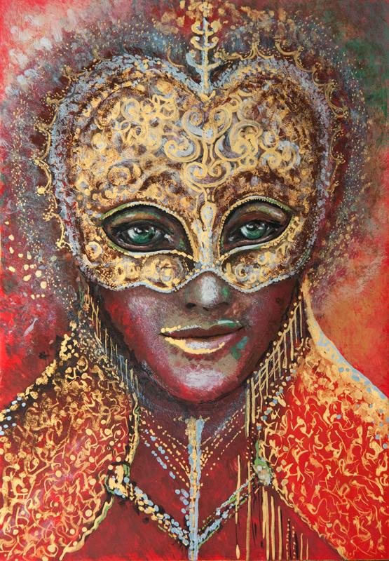 """""""Papieżyca"""", portret duszy, tempera na desce 28 x 19,5 cm; Dorota Szpil, 2018"""