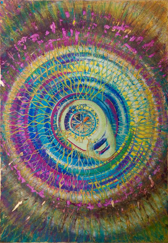 """Mandala; portret duszy """"Pulsar"""" tempera na desce 19,5x28 cm, Dorota Szpil"""