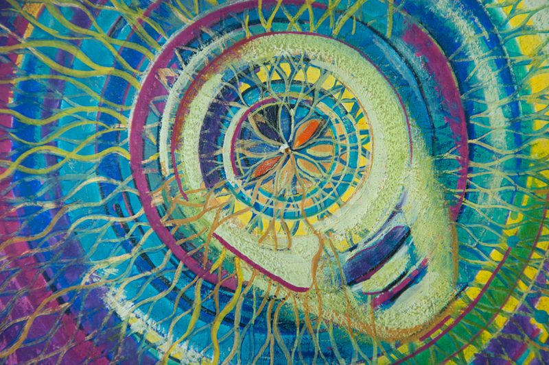 """Mandala; portret duszy """"Pulsar"""", tempera na desce 19,5x28 cm, Dorota Szpil"""