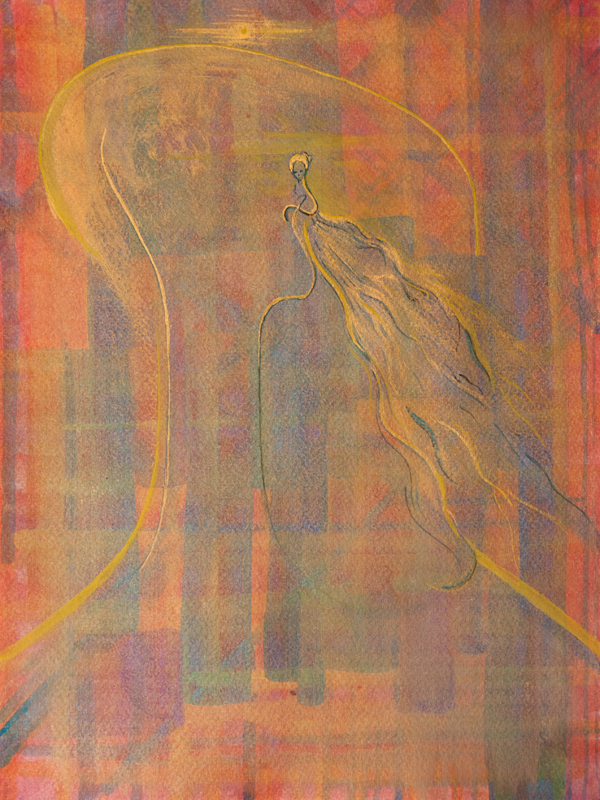 """Swit"" / Jutrzenka, tempera na papierze 24 x 32 cm; Dorota Szpil"
