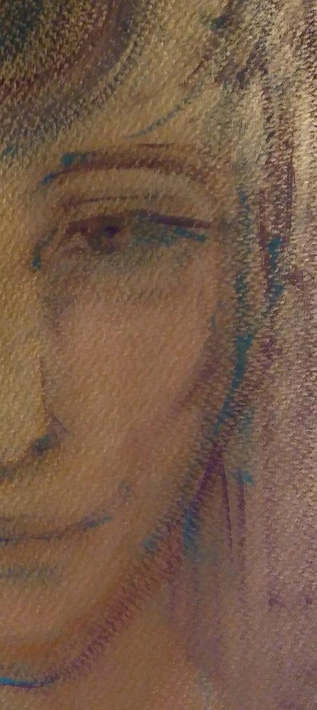 """Szamanka"", autoportret, fragment; tempera na papierze 24x30cm; Dorota Szpil, 2018"