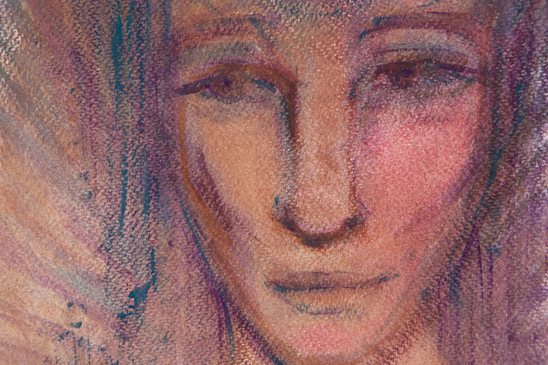 """Szamanka"", autoportret, tempera na papierze 24x30cm; Dorota Szpil, 2018"