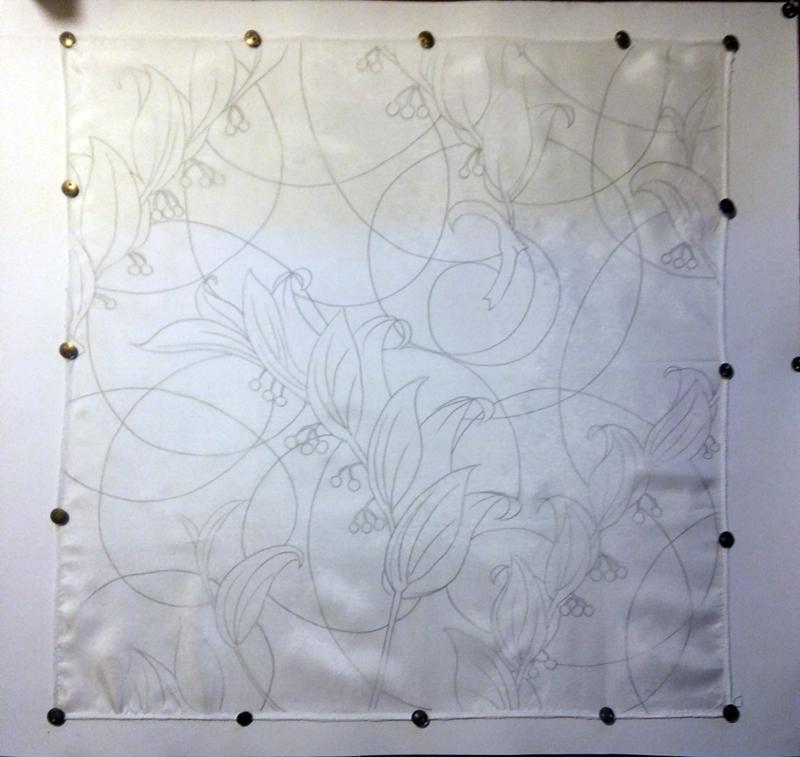 Pierwsze kroki malowanie na jedwabiu, nanoszenie szkicu na jedwab