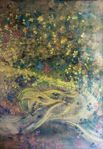 """Portret duszy """"Buenos Aires"""", tempera na desce 42x60 cm"""