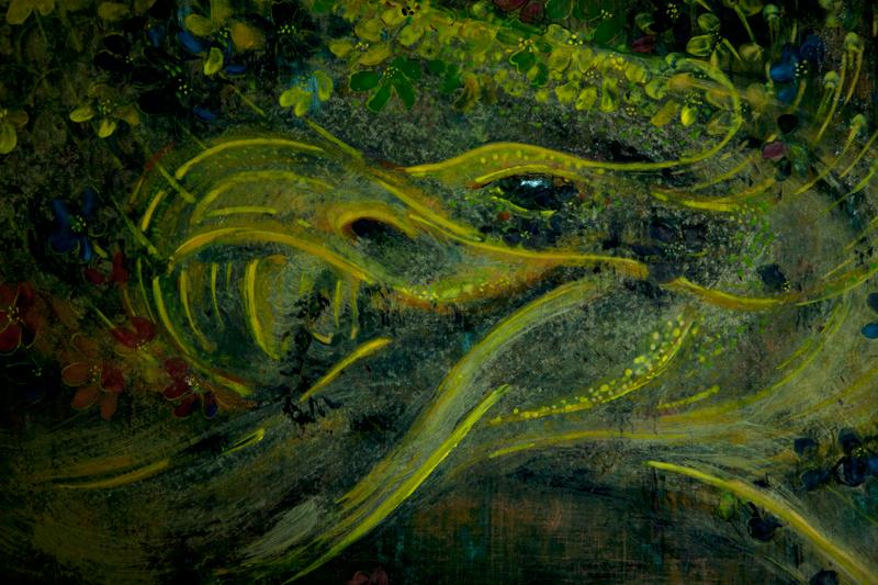 "Głowa smoka; fragment portretu ""Buenos Aires"", tempera na desce"