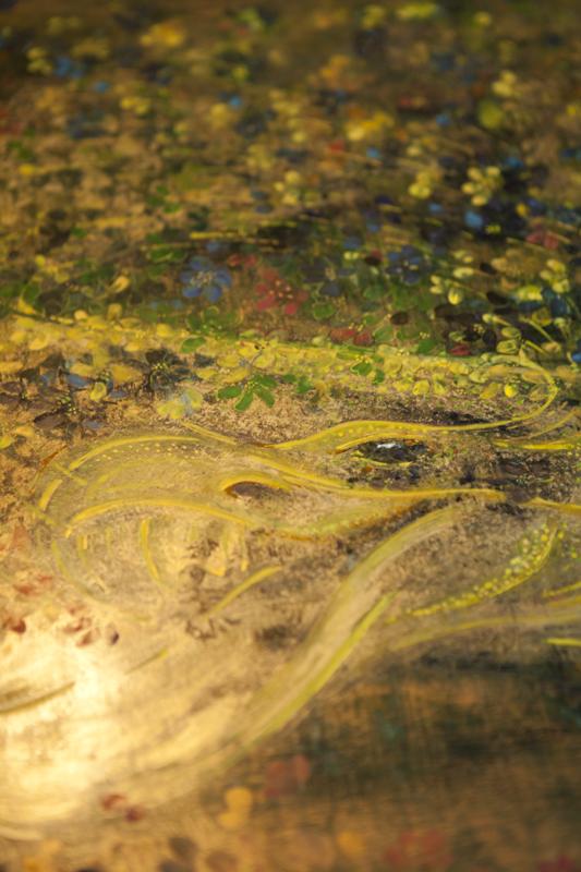 """Smok zionący ogniem; fragment portretu """"Buenos Aires"""", tempera na desce"""