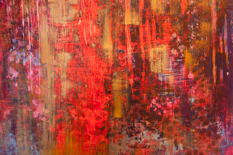 """Portret duszy """"Tango"""", fragment/tempera na desce 42x60 cm; Dorota Szpil, 2018"""