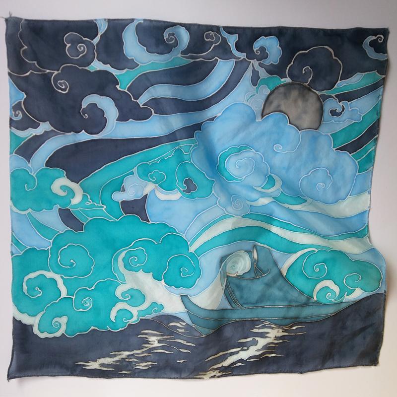 """Ręcznie malowany jedwab habotai; apaszka """"Siewca chmur""""; ©Jagienka Szpil"""