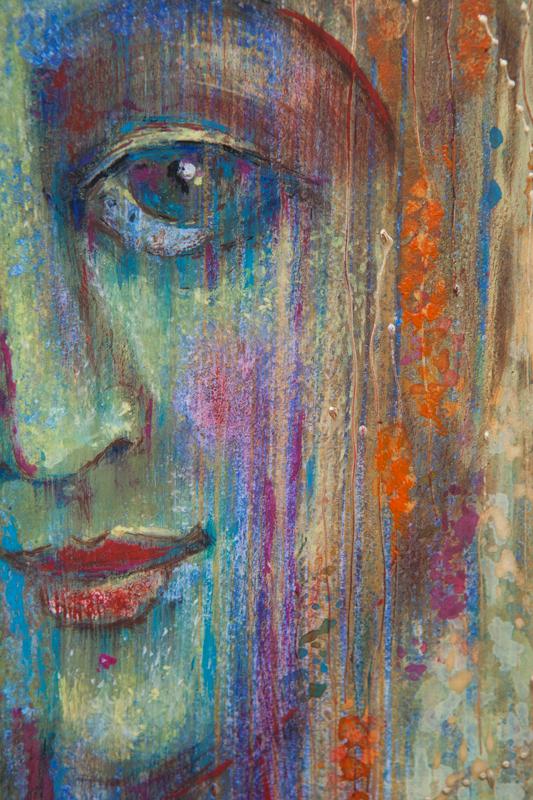 """Współczesna ikona; portret duszy """"Bella Donna czyli spełnienie""""; tempera na desce 42 x 60 cm"""