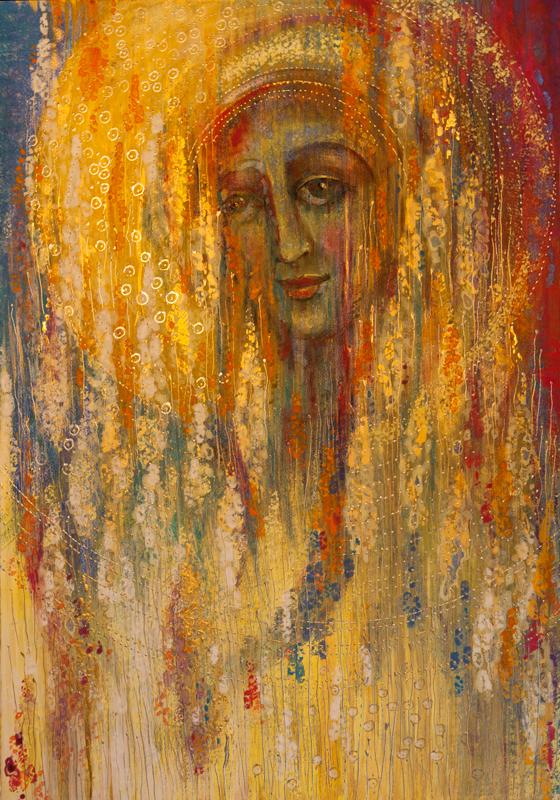 """Dorota Szpil, """"Bella Donna czyli Spełnienie"""", tempera na desce 42x60 cm, 2018"""