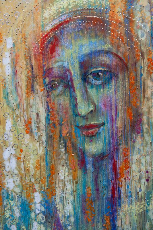 """Współczesna ikona; """"Bella Donna czyli Spełnienie""""; tempera na desce, 42 x 60 cm"""