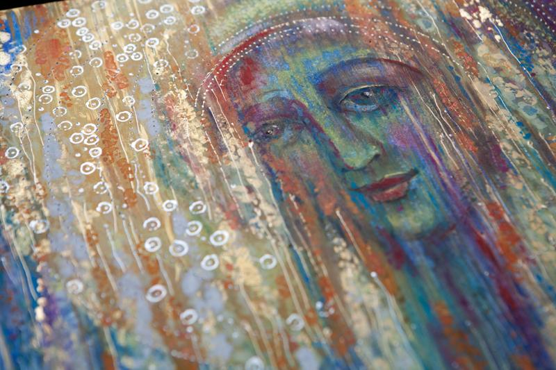 """Fragment portretu """"Bela Donna czyli Spełnienie"""", tempera na desce"""
