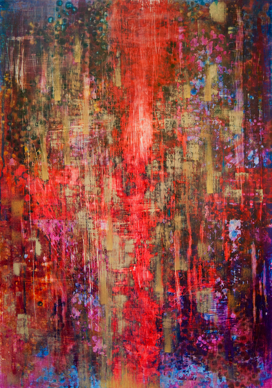 """Portret duszy """"Tango"""", tempera na desce 42x60 cm; Dorota Szpil, 2018"""
