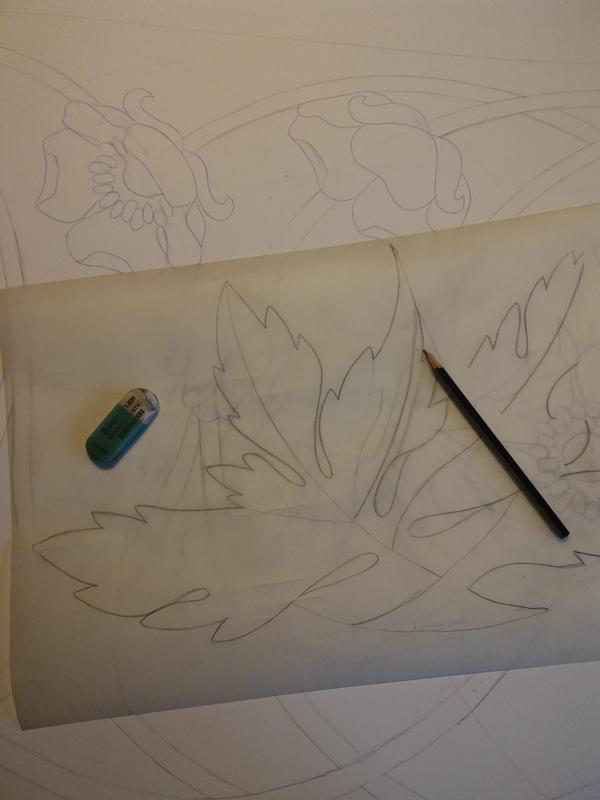 """Ręcznie malowany szal jedwabny """"Anemon Kwiat Wiatrów"""" w fazie projektowania wzoru"""
