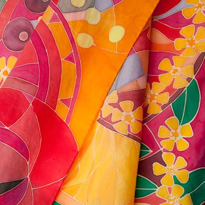 ręcznie malowany szal jedwabny