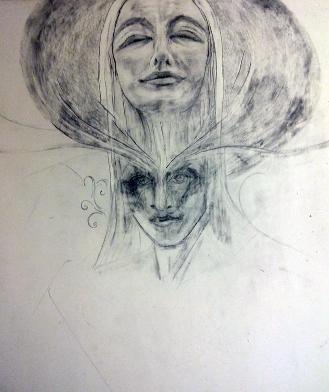 """""""Ave"""" w procesie, szkic ołówkiem"""
