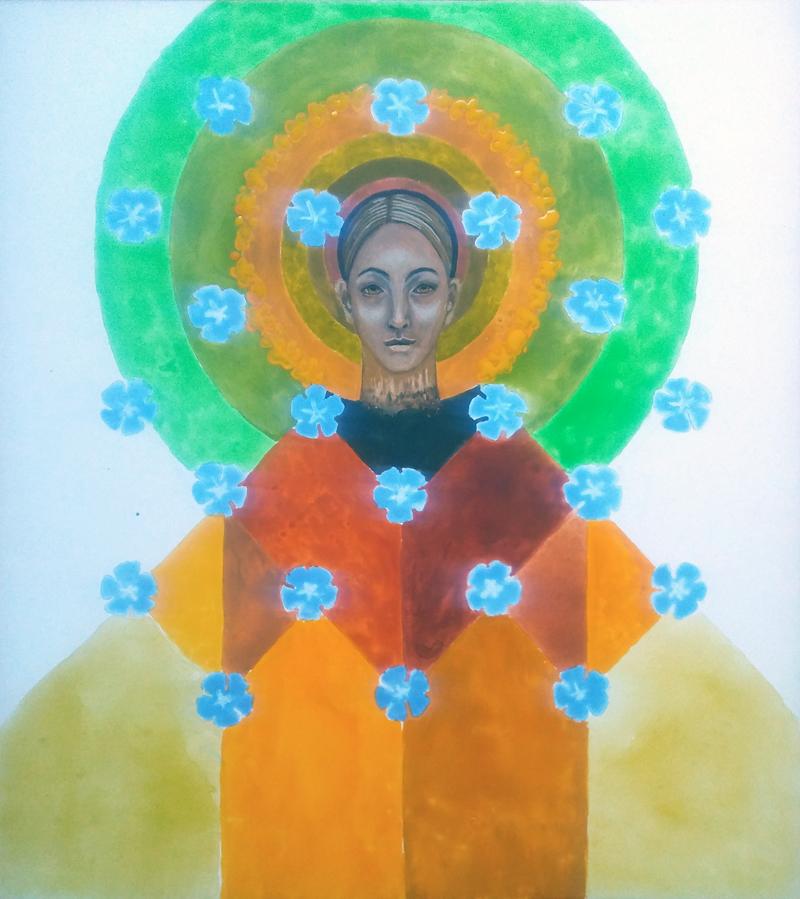 Portret kobiety w nimbie z zielonych kół i geometrycznej pomarańczowej szacie