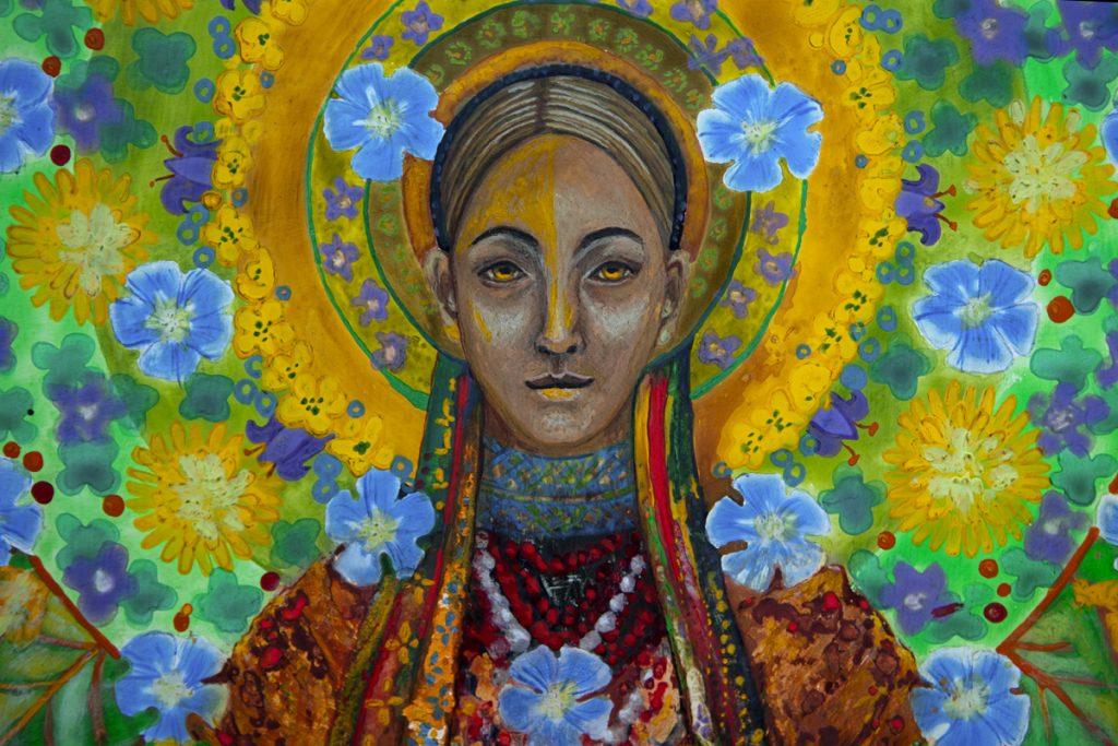 """Kobieta w wieńcu z polnych kwiatów i zboża; fragment obrazu """"Macierz"""""""