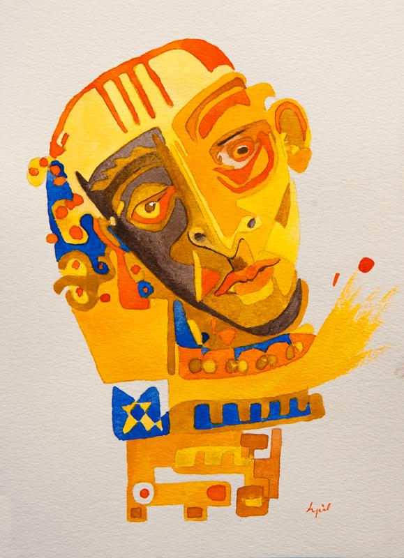 Montezuma i kot; praca w odcieniach oranżu i żółci na białym tle; tempera na papierze