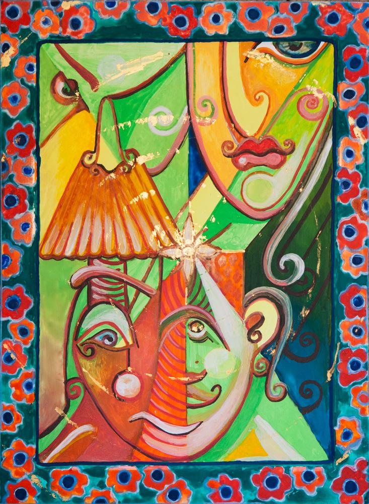 """""""Złoty środek"""", portret duszy, tempera, gwasz na desce 32x24 cm, Dorota Szpil, 2021"""